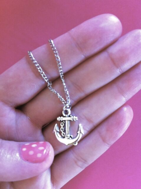 RETRO KITSCH QUIRKY NAUTICAL ANCHOR Sea Sailor Jerry SILVER Party Henny NECKLACE