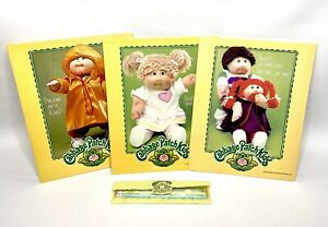 Lot-of-3-Vintage-1984-Cabbage-Patch-Kids-Folders-and-Pencil-Collectible-Set-Rare