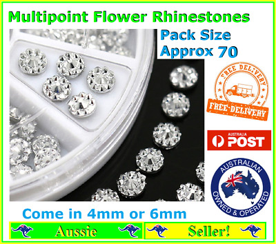 Approx 70 Multi point Flat back Resin Flower 4//6mm Silver Rhinestones Unique