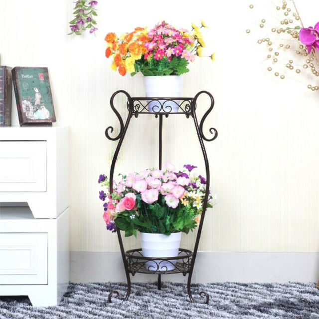 2 Tier Plant Stand Flower Holder Metal Home Garden Floor Standing Black Sy