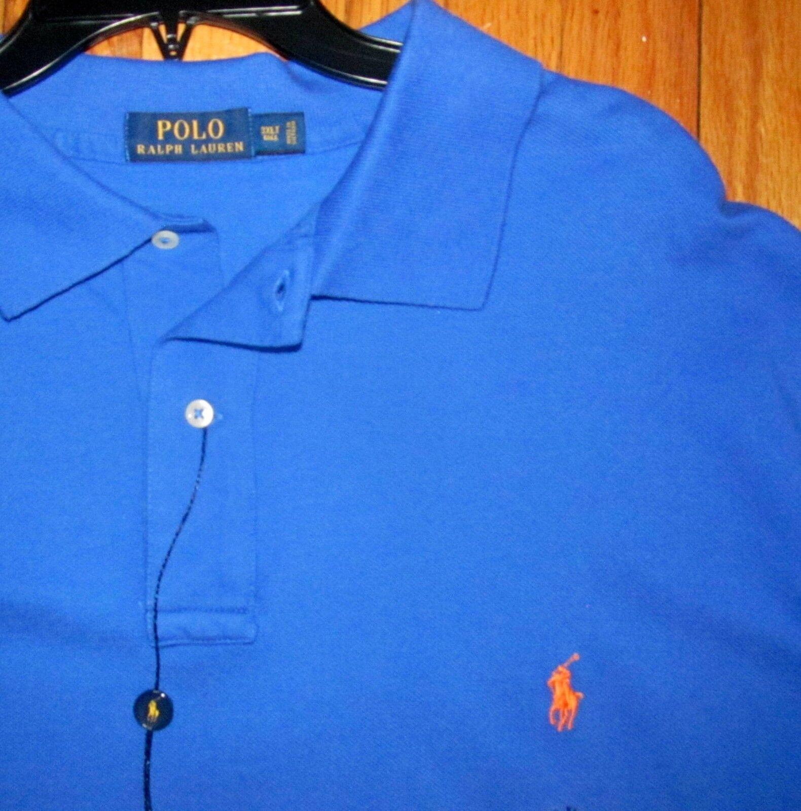 Ralph Men's SS Royal bluee Mesh Cotton Polo Shirt M NWT