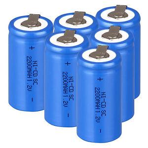 6-10-12-Pcs-2200mAh-1-2V-Rechargeable-Battery-Sub-C-SC-Ni-Cd-Batteries-amp-Tap