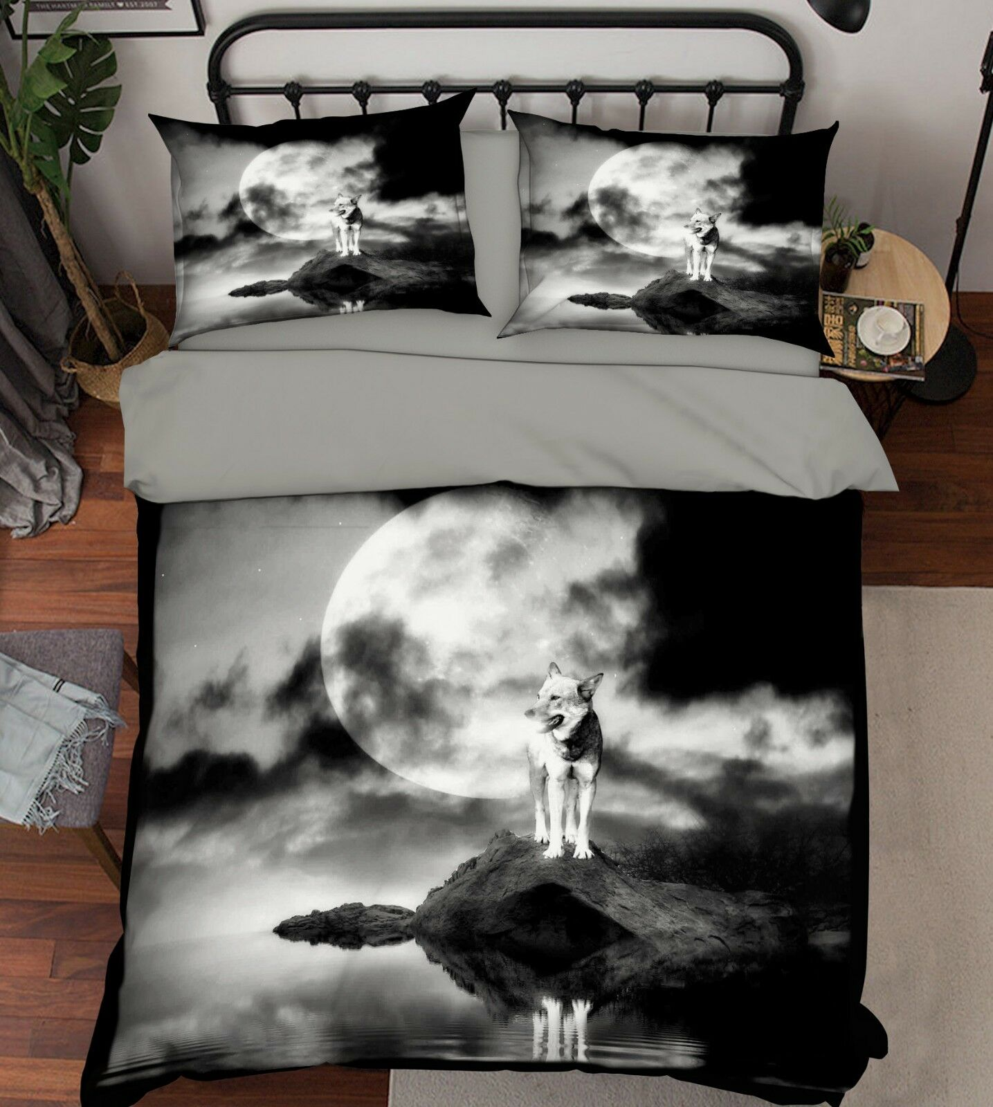 3D Moon Wolf Sea 688 Bed Pillowcases Quilt Duvet Cover Set Single King UK Summer