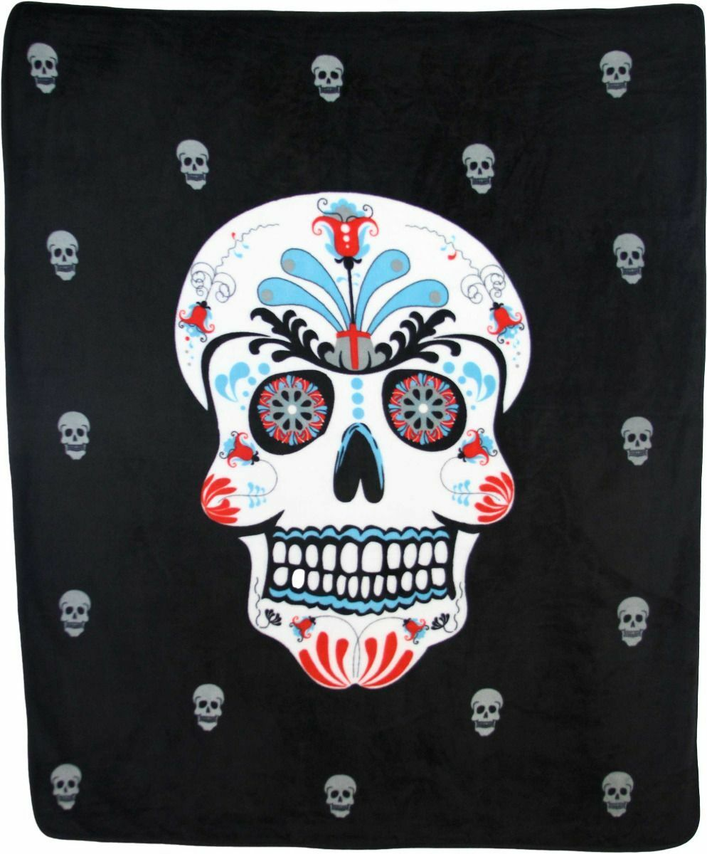 Wholesale ( 2 ) Sugar Skull Day of Dead 50x60 Polar Fleece Blanket Throw Plush