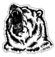 "Angry Grizzly Bear Chicago Bears 4"" Vinyl Decal Sticker Wild Western Animal"