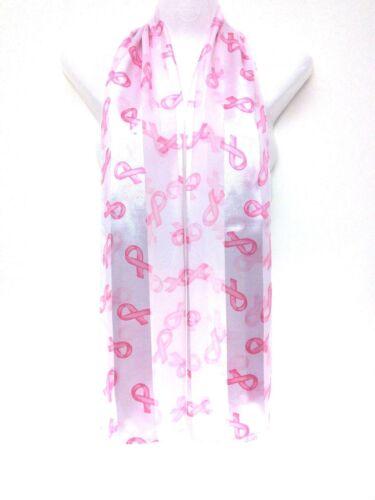 Breast Cancer Awareness Nastri Rosa Su ROSA SETA LUCIDA sciarpa Wraps UK ukpost