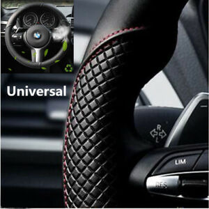 Car-Steering-Wheel-Cover-Black-amp-Red-Stitching-Microfiber-Leather-38cm-Universal