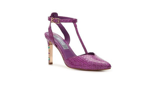 NIB  395 IVY KIRZHNER  CHERISH  PURPLE SNAKE LEATHER HEELS SHOES 7