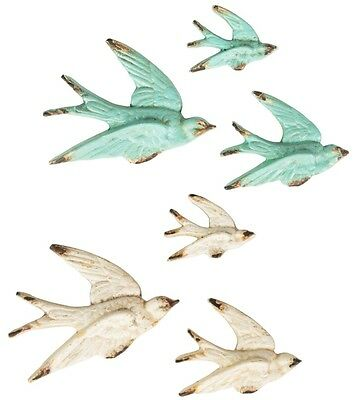 SET OF 3 FLYING SWALLOW WALL DECORATIONS VINTAGE STYLE BIRD CREAM ...