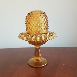 Vintage-FENTON-Art-Glass-AMBER-Hobnail-3-Piece-FAIRY-LAMP-Light-NO-INSERT