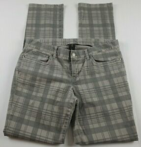 London-Jean-Womens-Jeans-Sz-10-Straight-Leg-Mid-Rise-Gray-Plaid-Denim-Pants