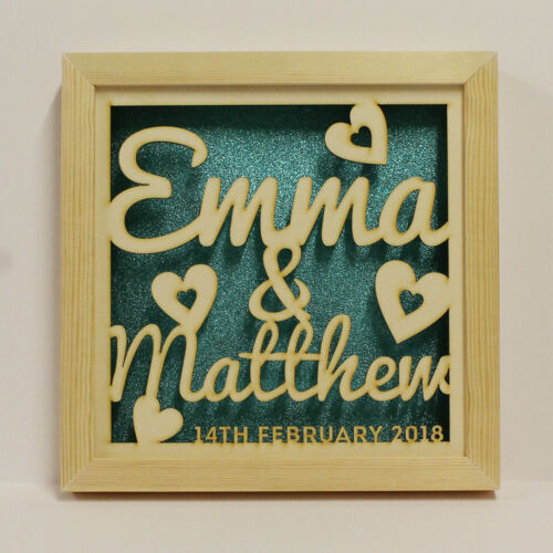 Personalised LED Shadow Box Frame Couples or Mr /& Mrs Anniversary Christmas Gift
