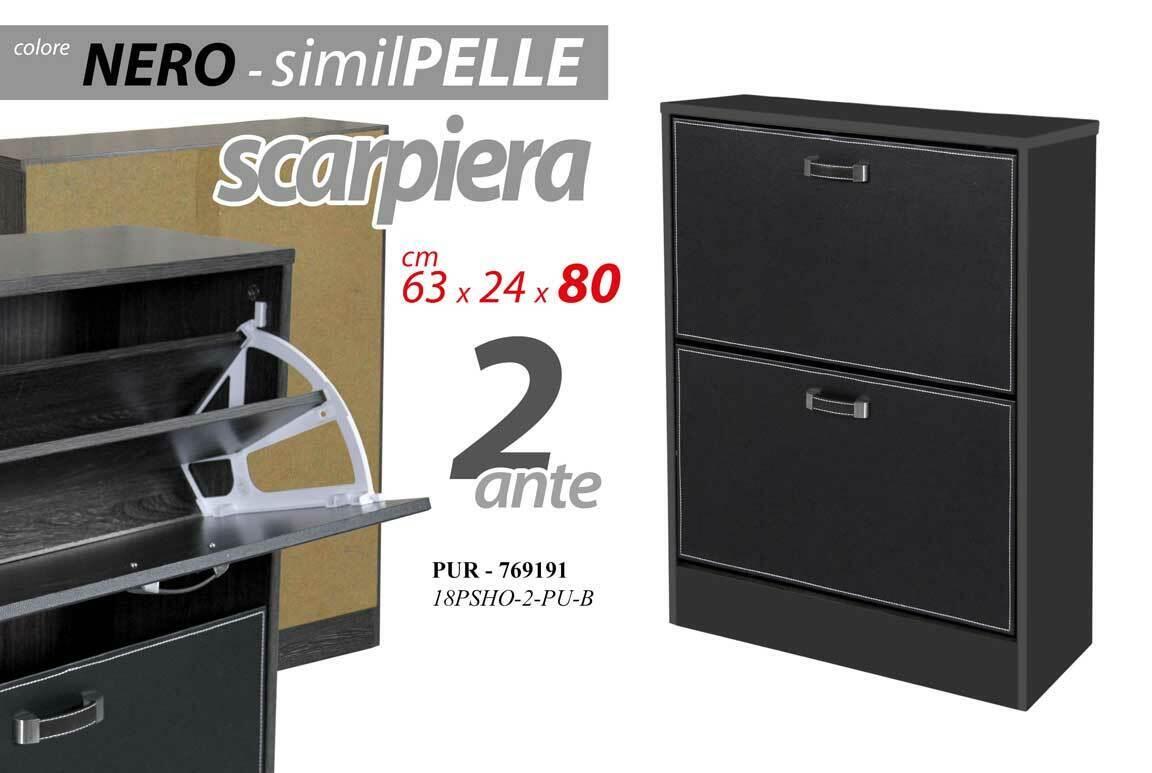 MOBILE SCARPIERA IN LEGNO NERO 2 ANTE 632480 CM SIMIL-PELLE PUR-769191