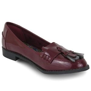 new york best online uk availability EX STORE WOMENS LADIES GIRLS PATENT LEATHER SHOES LOAFERS BURGUNDY ...