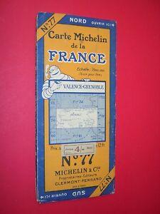 MICHELIN MAP FRANCE circa 1930 VALENCE GRENOBLE no77 SCALE 1