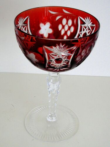 1 AJKA MARSALA RUBY RED CASED CUT TO CLEAR CHAMPAGNE SAUCER