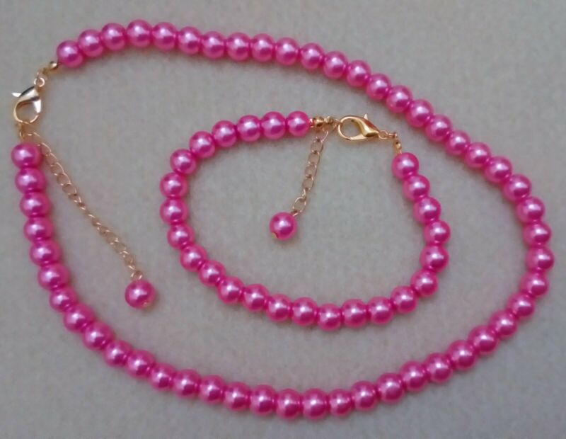 """16"""" 8mm Hot Pink Glass Pearl Necklace 8"""" Bracelet Set With Golden Lobster Clasp"""