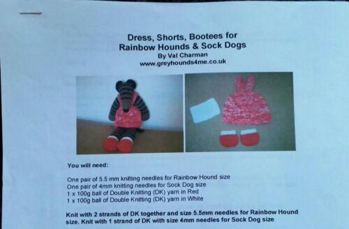 Knitting Pattern Greyhound Rainbow Hound// Sock Dog Dress shorts bootees