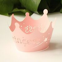 24pcs Pink Princess Crown Cupcake Wrappers Cases Wedding Christening Baby Girl S on sale