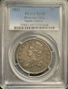 1832 U.S. CAPPED BUST HALF DOLLAR! PCGS GRADED XF45 O-121a! $2.95 MAX SHIPPING!