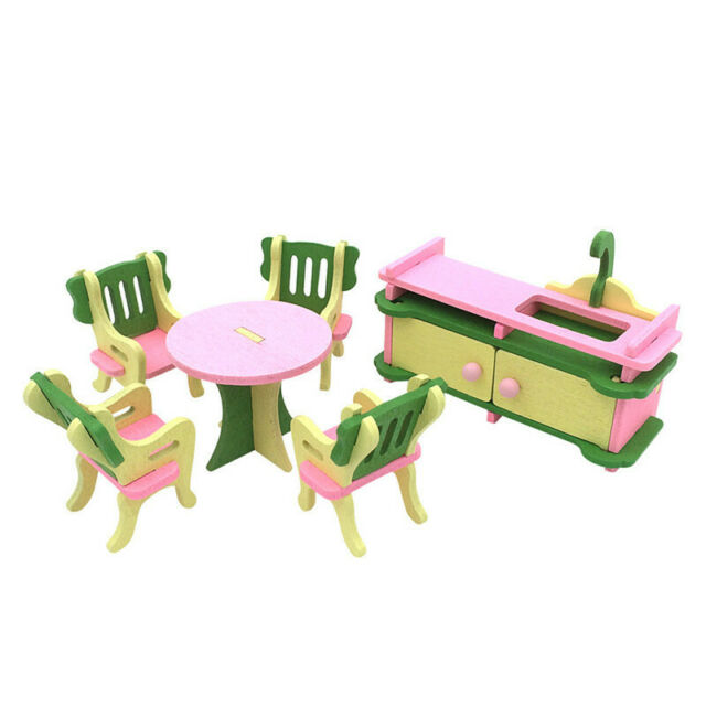 1 set Baby Wooden Dollhouse Furniture Dolls House Miniature Child Play Toys D6R6