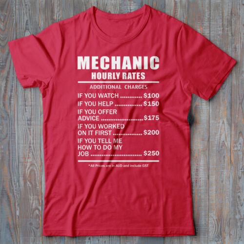 Hourly Rates present novelty Tee shirt Mechanic T-shirt gift funny