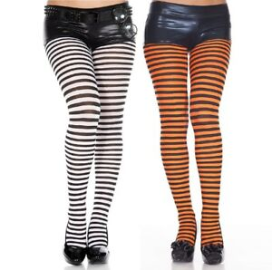 Adult Orange And Black Striped Tights Ladies Halloween Pumpkin Witch Fancy Dress
