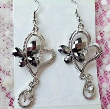 Silver / Clear Crystal Heart Butterfly Earrings Silver Tone FAST FREE SHIPPING