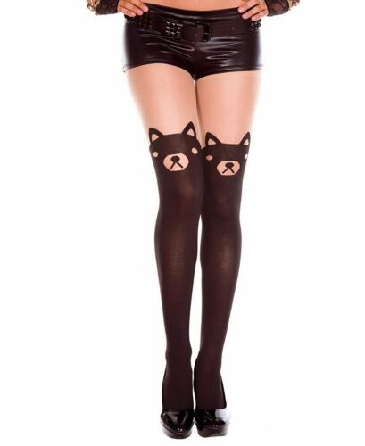 Music Legs 7122 Bear Print Sheer Spandex Pantyhose