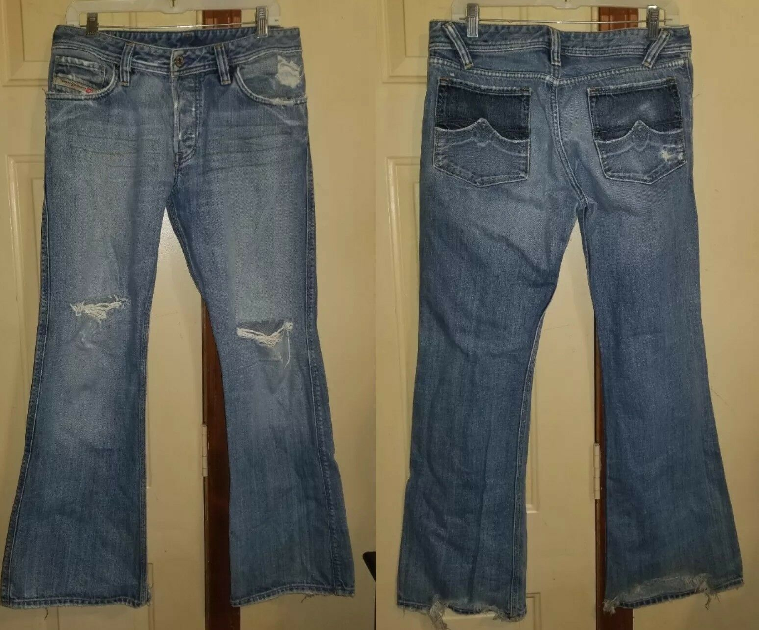 Diesel Womens Bootcut Flare Factory Destroyed Jeans Size 32 Lightwash Button Fly