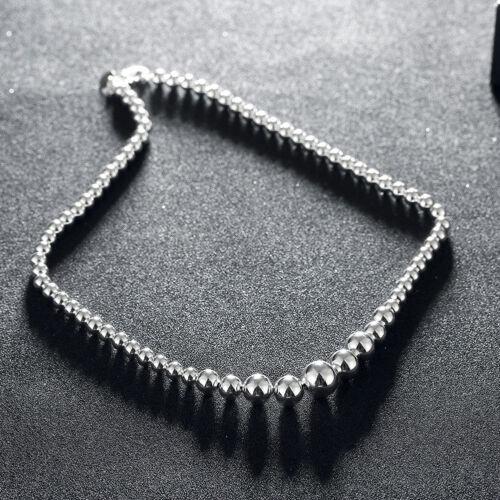 Fashion Jewelry 925Sterling Silver Lovely Beads Men Women Necklace 18/'/' NB195