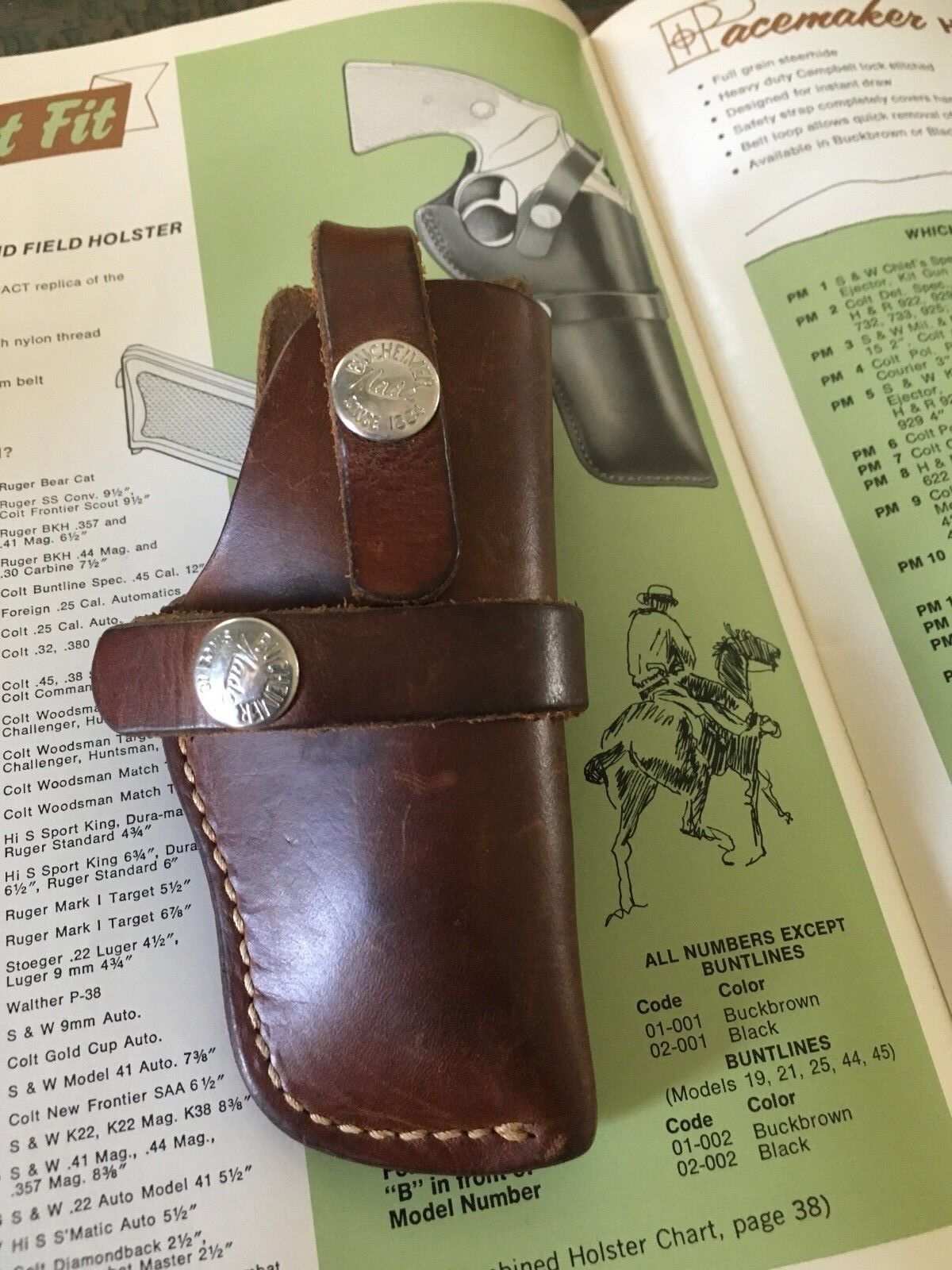 Vintage Bucheimer Brown Leather OWB Holster For Foreign .25 Auto