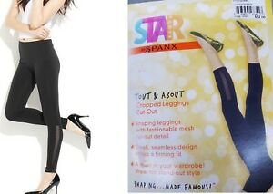 Star Power by Spanx Wide Waistband Cropped Cut-Out Leggings Black Small