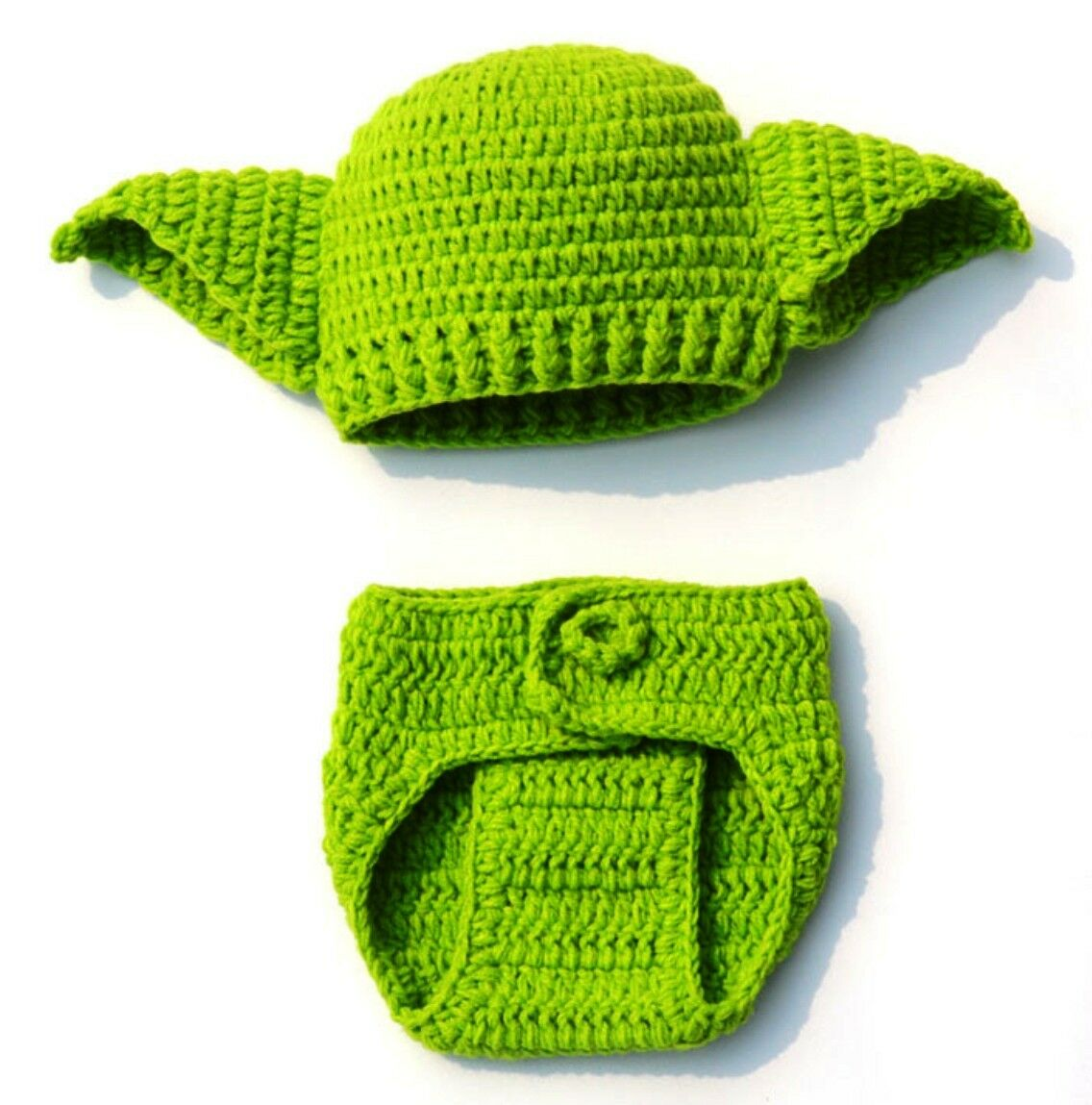 Star Wars Yoda Hand Knit Hat and Diaper Cover Set Size 0-6 Month
