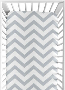 Fitted Crib Toddler Sheet For Jojo Designs Gray And White Bedding-Chevron Print