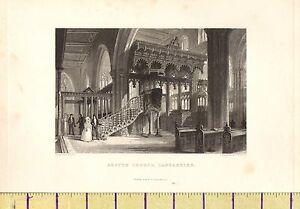 1842 Antico Vittoriano Stampa ~Sefton Chiesa~ Lancashire