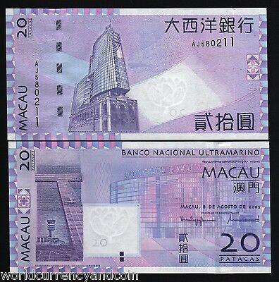 MACAU MACAO 20 PATACAS 2005 BNU P 81 UNC