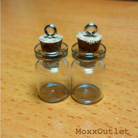 Mini Corked Glass Bottles Vials Charm Kit For Pendants Earrings 3/4 24-pack