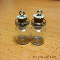 Mini Corked Glass Bottles Vials Charm Kit For Pendants Earrings 3/4 50-pack