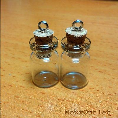 """Mini Corked Glass Bottles Vials Charm Kit for Pendants Earrings 3/4"""" 50-Pack"""