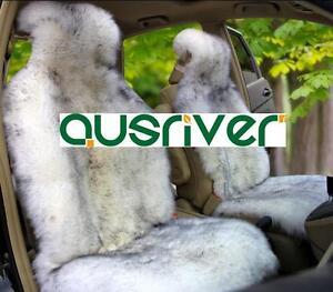 Grey Colour Premium Australian Sheep Skin Car Long Wool Front Single Seat Cover
