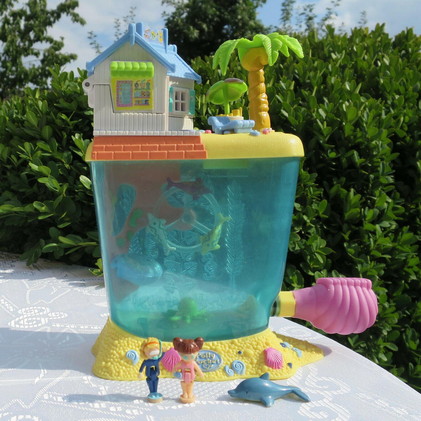 Mini Polly Pocket Aquarium Dolphin Island 2 Original Figuren Taucher Blaubird