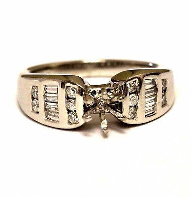 Platinum .44ct VS G diamond semi mount engagement ring band 11.2g