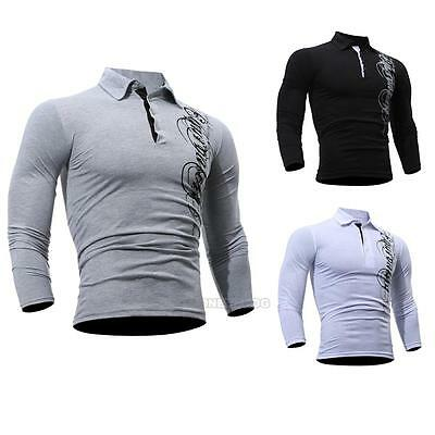 Fashion Mens Long Sleeve Shirt Button Down Casual Slim Fit POLO T-shirt Tee Tops