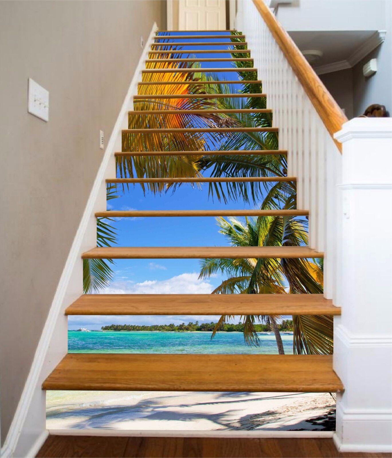 3D Palm Beach 7 Stair Risers Decoration Photo Mural Vinyl Decal Wallpaper UK