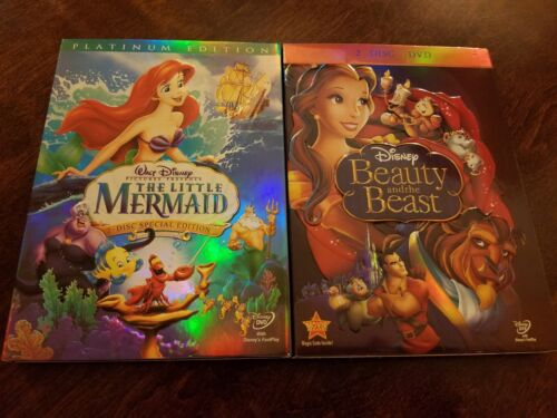1 of 1 - The Little Mermaid And Beauty and the Beast DVD 2-Disc Platinum Edition Lot 2