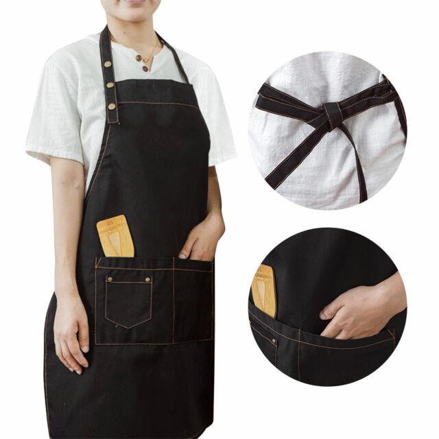 Unisex Pockets Apron Butcher Crafts Baking Chefs Kitchen Cooking BBQ Apron