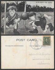 1908 Sports Postcard - Soccer - A Header Into Goal - Comic Humor