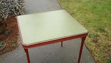 "1940`s ?- 60s RARE 30"" X 30"" -27""TALL METAL/GREEN MATERIAL FOLDING CARD TABLE"