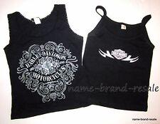 HARLEY DAVIDSON Lot 2 Tank Tops Shirts Womens MEDIUM M Black with Logo  USA Made